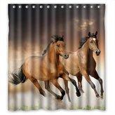 Coffee-star Fabric Shower Curtain 66(W)x72(H)