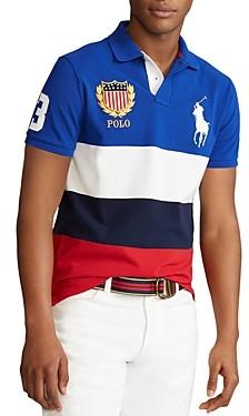 Polo Ralph Lauren Cotton Color Blocked Custom Slim Fit Mesh Polo Shirt