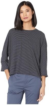 Vince Pencil Stripe Dolman (Coastal/Optic White) Women's Clothing