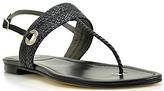 Stuart Weitzman Bimini - Black Leather Woven Flat Thong Sandal