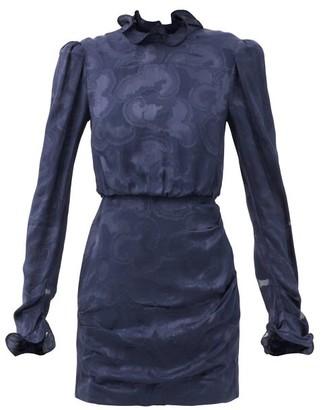 Saloni Rina B Daybreak-jacquard Silk-satin Dress - Navy