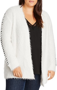 1.state Plus Fuzzy Whipstitched Open-Front Cardigan
