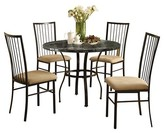 Acme Darell 5Pc Pack Dining Set - Black Faux Marble and Black