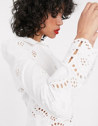 And other stories & high-neck broderie blouse in white