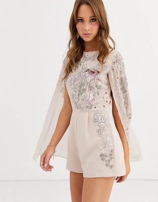 ASOS DESIGN embellished playsuit with cape