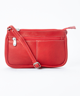 Le Donne Red Top-Zip Mini Leather Crossbody Bag