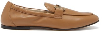 Tod's T-logo Leather Loafers - Tan