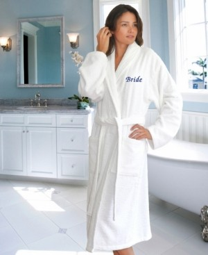 "Linum Home Terry Bathrobe with Embroidered ""Bride"" Bedding"