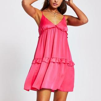 River Island Pink tiered cami swing mini dress