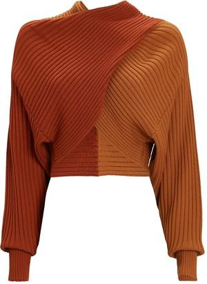 AMUR Milena Cropped Rib Knit Sweater