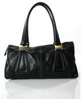Tod's Black Leather Pewter Tone Double Strap Contrast Stitched Satchel Handbag