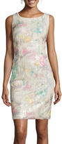 Studio 1 Sleeveless Printed Sequin Sheath Dress
