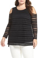 Vince Camuto Plus Size Women's Eyelet Stripe Cold Shoulder Top