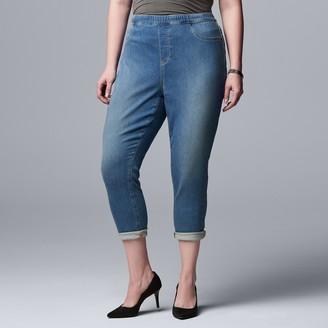 Plus Size Simply Vera Vera Wang Roll Cuff All-Day Denim Legging