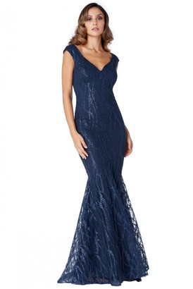 Goddiva Navy Sweetheart Neck Mermaid Maxi Dress