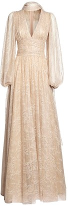 Luisa Beccaria Embellished Lace Long Dress