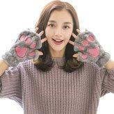 Iucky Gloves Ilucky winter girls cartoon Cat-pad half finger gloves no.16