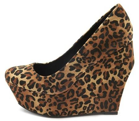 Charlotte Russe Leopard Architect Wedge Pump