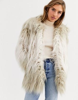 Urban Code Urbancode coat in shaggy faux fur-Grey