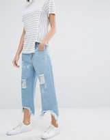 Daisy Street Relaxed Wide Leg Jeans With Raw Hems And Distressing