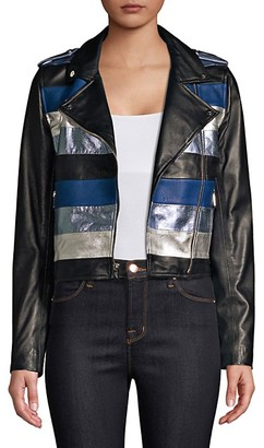 The Mighty Company Stripe Leather Moto Jacket