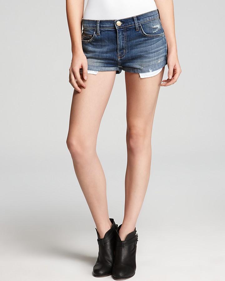 Current/Elliott Jean Shorts - Girlfriend Jean Shorts in Juke Box with Destroy
