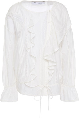 IRO Myth Ruffled Lace-trimmed Cotton And Silk-blend Blouse