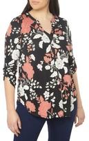 Evans Plus Size Women's Floral Foil Jersey Shirt