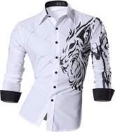 jeansian Men Slim Button Down Long Sleeves Dress Shirt 2028 Navy XL