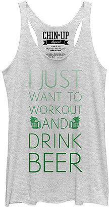 Chin Up Apparel Women's Tank Tops White - White Heather 'Work Out & Drink Beer' Racerback Tank - Women
