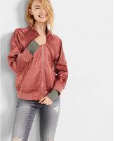 Express shiny cropped sleeve bomber jacket