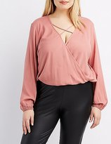 Charlotte Russe Plus Size Strappy Surplice Blouse