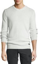 Belstaff Margate Wool/Cashmere-Blend Crewneck Sweater, Natural White