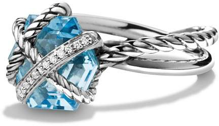 David Yurman Petite Cable Wrap Ring with Blue Topaz and Diamonds