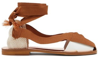 Álvaro González X Thierry Colson Teresa Wraparound Leather Sandals - Brown White