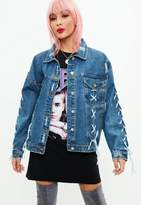 Missguided Blue Lace Up Oversized Denim Jacket, Blue