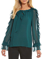 M.S.S.P. Tie Front Ruffle Sleeve Crepe Blouse
