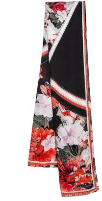 Roberto Cavalli Coral & Black Floral Printed Silk Scarf