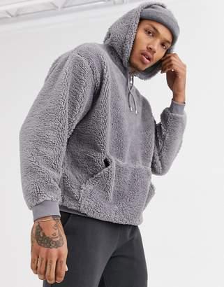 Asos Design DESIGN oversized hoodie in grey borg