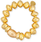 Devon Leigh 18K Gold-Plated Bracelet with Shell Pearl Station