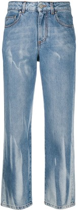 MSGM Distressed-Finish Logo Denim Jeans