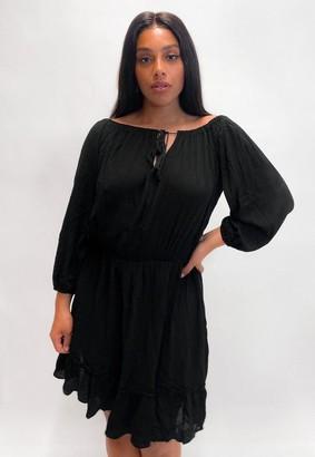 Missguided Plus Size Black Tassel Bardot Midi Dress