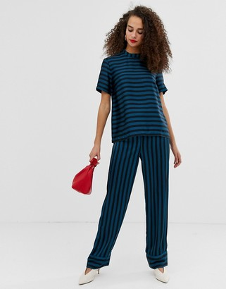 Pieces Tika stripe wide leg trousers