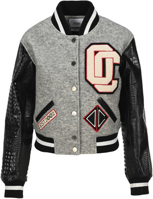 Opening Ceremony Contrasting Sleeves Cropped Varsity Jacket