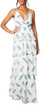 Ramy Brook Toleda Printed Cross-Back Tiered Maxi Dress