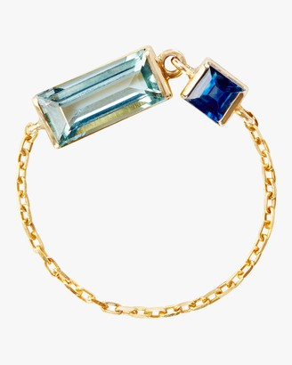 Yi Collection Aquamarine and Sapphire Chain Ring