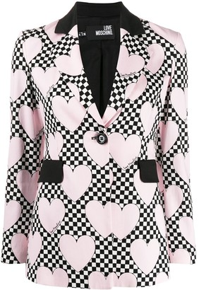 Love Moschino Heart Check Print Blazer