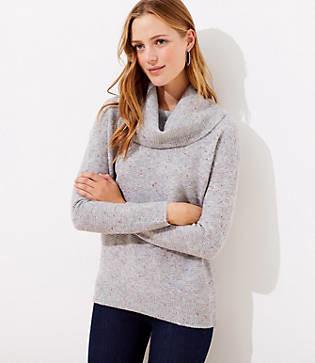 LOFT Flecked Cowl Neck Tunic Sweater