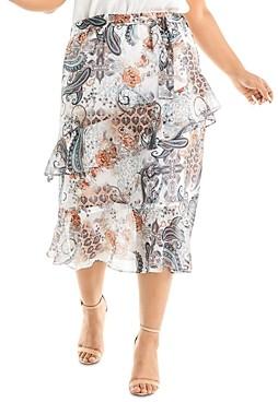 Estelle Plus Living Printed Midi Skirt