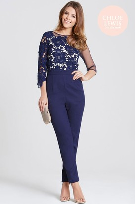 Girls On Film Chloe Lewis Collection Navy Crochet and Sheer Jumpsuit